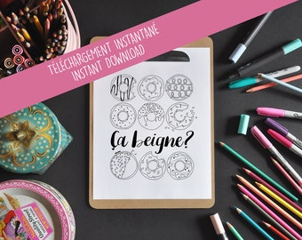 Inspiring coloring - this donut? -What's up? -Inspiring phrase - coloring to frame - coloring of relaxation
