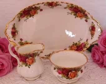 Royal Albert Old Country Roses Creamer and Sugar set with Regal Tray Complete Set first Backstamp 1960s