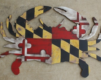Maryland Crab Rustic Wood State Flag