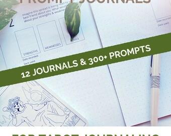 Bundle of 12 Tarot Spread Journaling Tarot Journals, Tarot Midori Travelers notebook insert and A5 journal inserts for a pagan writer gift
