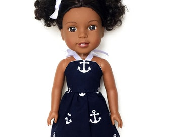 Halter Dress, Anchors, Navy Blue, White, 14.5, Fits dolls such as AG Wellie Wishers Doll Clothes