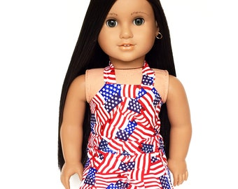 Halter Top, 4th of July, Flags, Red, White, Blue, Spring, Summer, American Doll Clothes, 18 inch Clothes