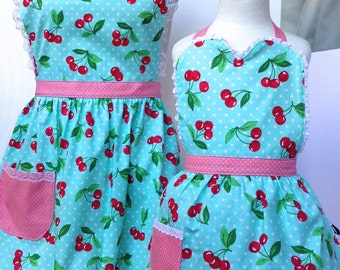 Adult and Child Cherry Apron Set