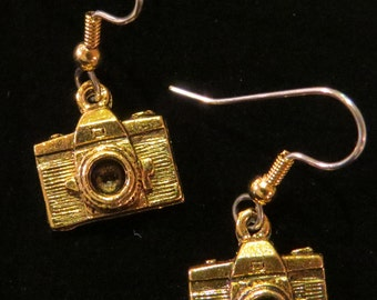 Camera Earrings 24 kt Gold Plate Digital Photographer EG123B