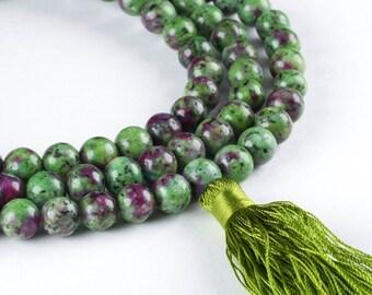 RUBY ZOISITE MALA Necklace & Mala Tassel - 8mm Beads 108 Mala Beads, Ruby Necklace, Mala Prayer Bead, Prayer Necklace, Prayer Bracelet E0120