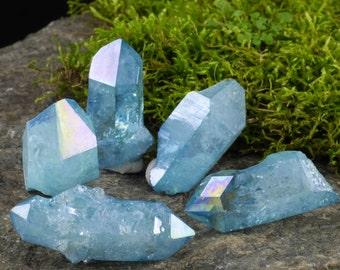 One AQUA AURA QUARTZ Crystal - Angel Aura Quartz Point, Rainbow Crystal Point, Aura Crystal Jewelry, Rainbow Aura Quartz Necklace E0183