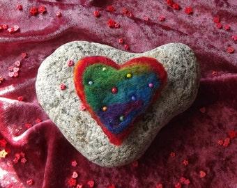 SALE: Rainbow Heart Brooch - Handmade, Needle Felted, OOAK