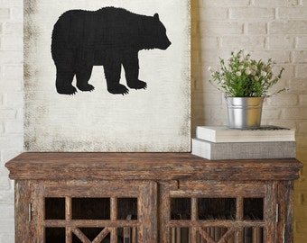 Bear Silhouette, Black and White Print, Silhouette Wall Art, Canvas Wall Decor, Black and White Canvas Art, Printed on Canvas
