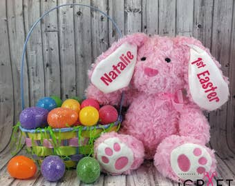 Personalized bunny etsy personalized bunny first easter easter basket bunny plush bunny personalized baby gift negle Image collections