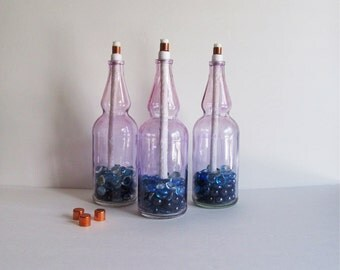 Purple Wine Bottle Citronella Torches set of 3, Wine Bottle Tiki Torch, Wine Bottle Torches, Wine Bottle Decor, Patio Decor, Purple Torches
