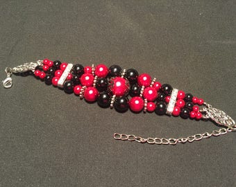 Red Black and Silver Beaded Bracelet