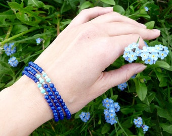ISIS, bracelet 3 rows in lapis lazuli, turquoise and silver