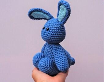 blue crochet rabbit toy / amigurumi rabbit / rabbit softie / bunny toy / bunny soft toy / rabbit plushie