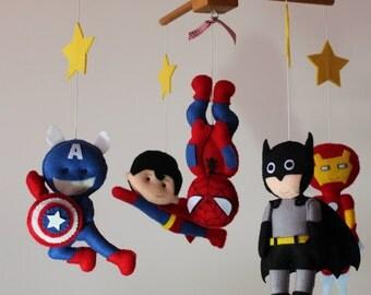 Super Heroes Baby Crib Felt Mobile, Baby Felt Mobile, Batman, Captain America, Ironman, Superman, Spiderman, Kids, Gift