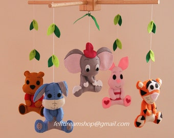 Disney mobile, Felt Crib Mobile, Dumbo and Friends Crib Bedding, Crib Sheet, Dumbo, Eeyore,Tigger,Piglet,Winnie the Pooh, Handmade BB