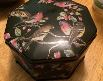Vintage Black Floral and Bird English Tea Tin