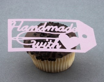 Handmade With Love cupcake cake toppers edible cake decoration or gift tag