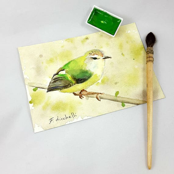 Small square depicting a sparrow on the branch, original watercolor by Francesca Licchelli, traditional gift idea, wall art, picture to hang