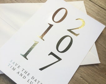 Gold foil modern and simplistic save the date