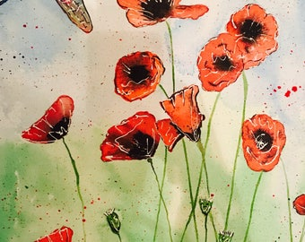 Dragonflies & Poppy field Original Ink painting on Canvas