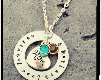 Mothers Necklace - Birthstone Necklace for Mom - Swarovski Crystal//Hand Stamped Charm// Mom Heart - Inspirational