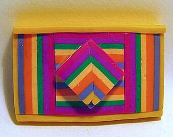 Brooch. Rectangular geometric brooch in bold colours.