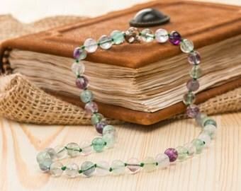 Fluorite necklace gem necklace women's necklace stone necklace gemstone necklace beaded necklace rainbow fluorite jewelry girlfriend jewelry