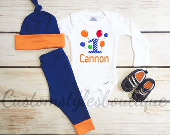 Baby Boys First Birthday Outfit, Orange and Blue Leggings and Hat, 1st Birthday Outfit, Birthday Boy, One Year Old, Boys Birthday Bodysuit
