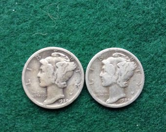 Antique Coins 1929 P Mercury Dimes Old Coin Collecting 90 Percent Silver Dime
