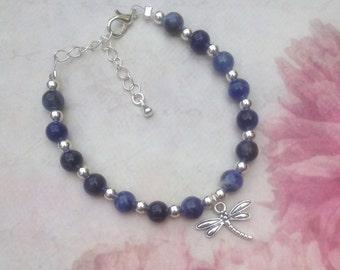 Sodalite Dragonfly Bracelet. Dragonfly Gemstone Bracelet. Blue Dragonfly Bracelet. Dragonfly Gift. Blue Beaded Bracelet. Lobster Clasp.