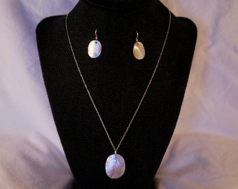 Sterling silver, shell necklace & earring set