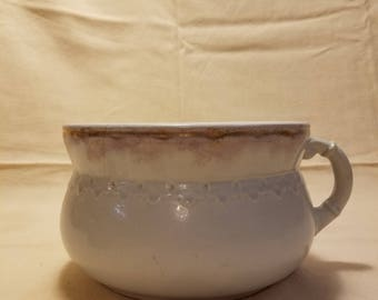 Antique Porcelain White with Gold Trim Chamber Pot By Winona