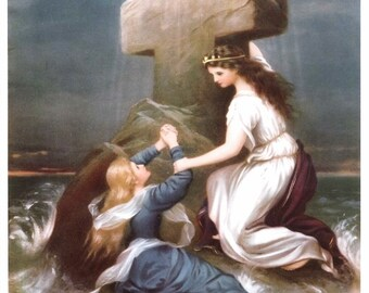 Rock of Ages Print - Angel Saves Woman from Drowning 8x10 Religious Art Print Picture