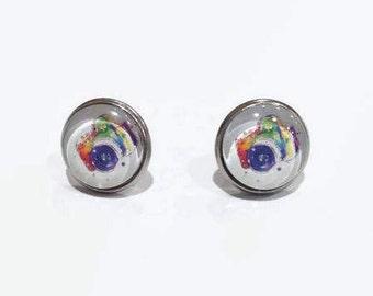 Camera Stud Earrings, Camera studs, Camera Print Earrings, Photography Earrings, hypoallergenic studs, 12mm studs, stainless steel studs