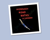 Hornsey Road Baths & Laundry Neon Sign – PRINT ONLY (not framed) – image 284mm square – Free UK postage