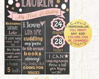 Pink and Gold First Birthday Chalkboard, Girl First Birthday Poster, Birthday Photo Prop, Pink and Gold Party, Milestones, Digital File