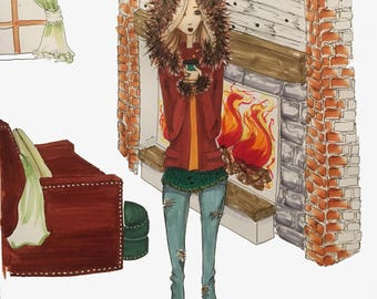 Custom Fashion Illustration with Background - Single Person