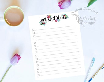 Printable To Do List, Daily To Do List, Daily Planner, Large Printable Daily Planner To Do List, Get Shit Done To Do List
