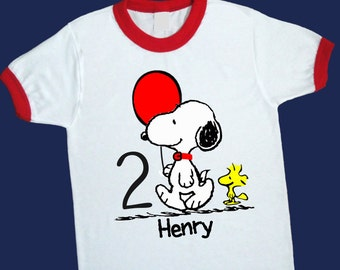 Snoopy and Woddstock Ringer Tee. Personalized Birthday Shirt with Name and Age [Charlie Brown, Peanuts Gang, Lucy, Linus, Sally] (25194