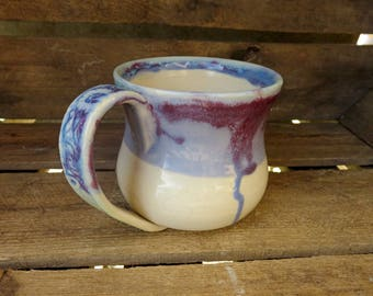 Handmade Mug, Ceramic Mug, Pottery Mug, Big Mug, Large Mug, Coffee Mug, Tea Mug, White and purple Mug, Purple, Paisley Handle, Ceramics,