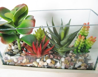 Succulent Terrarium, Artificial Succulent, Faux Succulent Planter, Modern Arrangement, Housewarming Gift, Succulent Garden