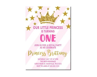 Girl First Birthday Invitation | Princess First Birthday Invitation | Girl 1st Birthday Invitation | Royal Birthday Invitation | Printable