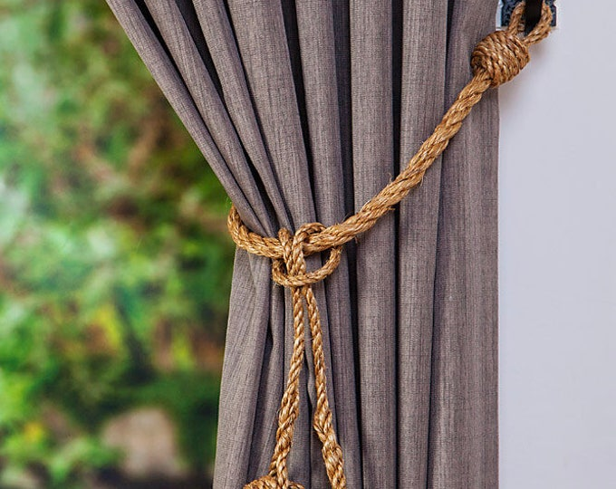 Manila Rope Hanging Monkey Fist Knot Removable Tassel Curtain Tie Backs/ Nautical Ties / Rope Ties/ Rustic Hold Backs/ Shabby Chic window