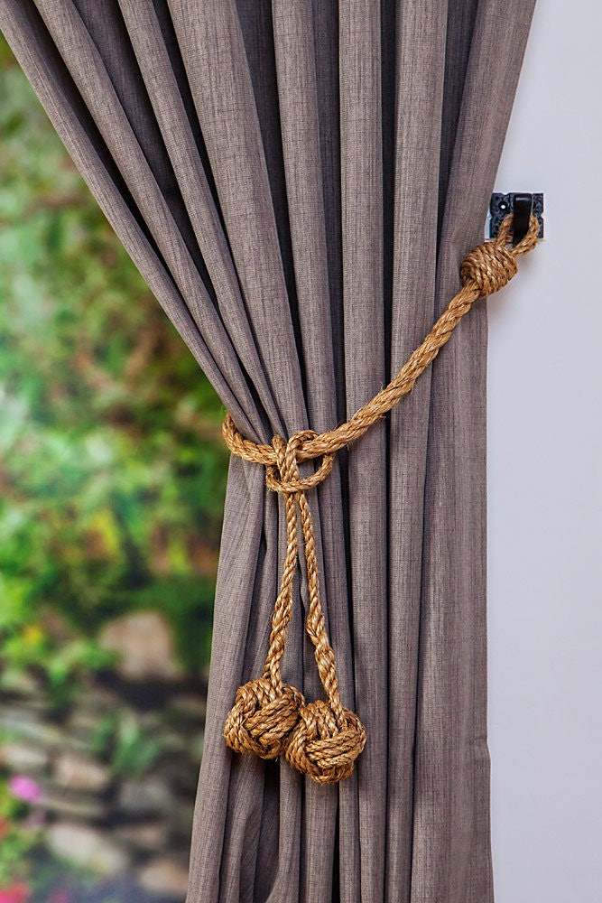 Manila Rope Hanging Monkey Fist Knot Removable Tassel Curtain Tie