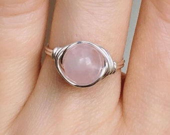 Rose Quartz Large Stone Ring, Rose Quartz Ring, Wire wrapped ring, Gemstone ring, Pink stone ring, Quartz wire ring, Pink ring, Crystal ring