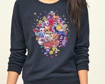 Undertale All Characters Chibi Cute Version Game Inspired Sweatshirt. Unisex Apparel