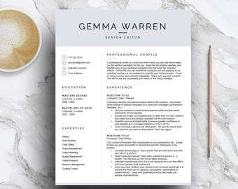 Modern resume template for Word & Pages (1, 2 and 3 page resume, cover letter, icon set) CV Template, blue resume | Instant Download