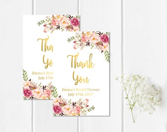 Gold Boho Personalized Bridal Shower Favor Gift Tags, Printable Custom Floral Shower Favor Tags, Floral Thank You Favor Tags, Download 110-G