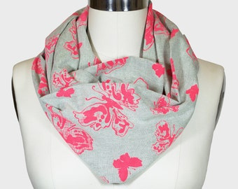 Infinity Scarf - Limited Edition Grey/Pink Butterflies Print; Circle Scarf; Birthday Gift; Canadian Made; Canada150