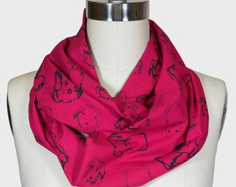 Infinity Scarf - Limited Edition Raspberry/Black Dogs Print; Circle Scarf; Birthday Gift; Canadian Made; Canada150